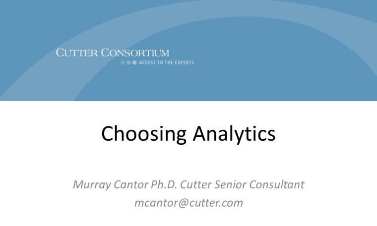 Choosing Analytics